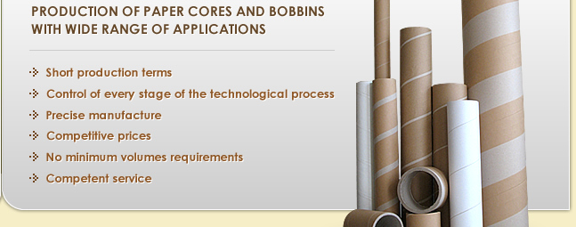 Paper cores and bobbins with wide range of application